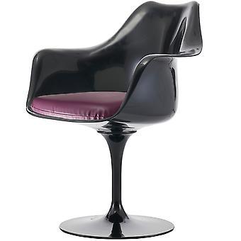 Fusion Living kiiltävä musta ja violetti PU kääntö nojatuoli