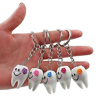 10pcs cartoon tandheelkundige simulatie tanden sleutelhanger sleutelhanger ring