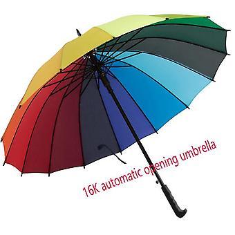2020 المألوف 24k قوس قزح مظلة كبيرة مقاومة للرياح الرجال جلد الساموراي مظلة طويلة مظلة المرأة
