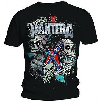 Pantera Texas Skull Mens Svart T-shirt: Stor