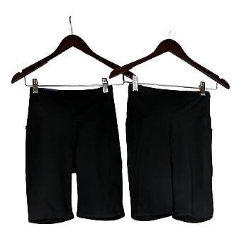 Danskin Women's Shorts Ladies' Bike Short 2-Pack Black