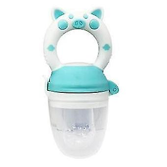 High quality scandinavian style non toxic toddler pacifier feeder and nibbler(Blue White Pig L)