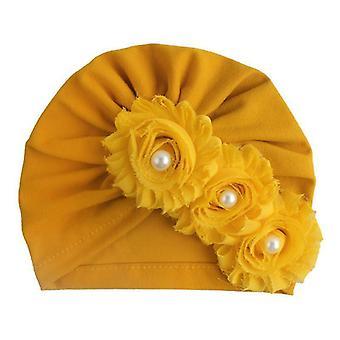 Baby Piger Floral Turban Cap Infant Head Wrap Pandebånd Soft Beanie Hat
