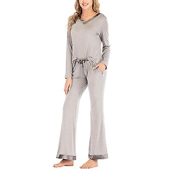 Women's Pajama Set Sleepshirt V-neck Long Sleeve Tops Nightwear