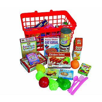 带玩食品的杂货篮