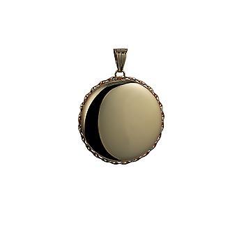 9kt guld 31mm almindelig snoet ledning kant rund medaljon