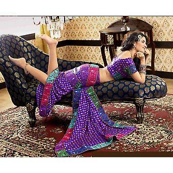 Pernilles dyb lilla Faux Crepe luksus part bære Sari saree