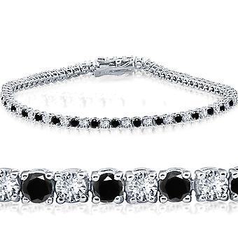 "2ct svart & vit diamant Tennis armband 14K vitguld 7 """