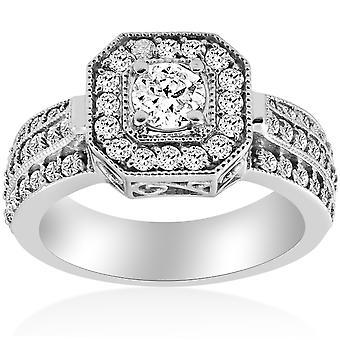 1ct Vintage Diamond Engagement Ring 14K or blanc Halo tour coupe