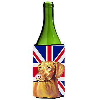 Vizsla met Engelse Union Jack Britse vlag wijnfles drank isolator Hugge