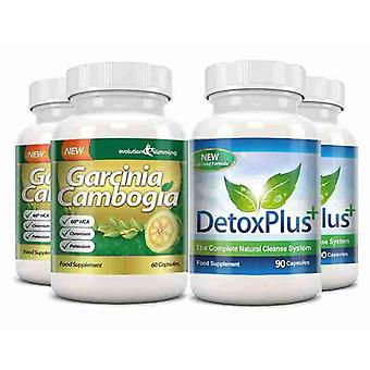 Garcinia Cambogia Cleanse Combo 1000mg 60% HCA with Potassium and Calcium - 2 Month Supply - Appetite Control and Colon Cleanse - Evolution Slimming