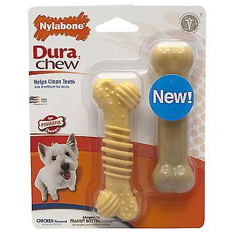 Interpet Limited Nylabone Chicken/Peanut Flavour Dura Chew Textured Dog Toys (Pack Of 2)