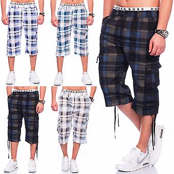Mens Cargo Shorts short trousers 3/4 Bermudas Karo stretchable waistband summer
