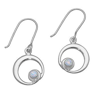 October Sterling Silver Traditional Birthstone Design Pair of Earrings - White Opal Stone - SE373