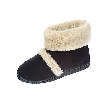 Coolers Womens Microsuede Outdoor Sole Boot Slipper