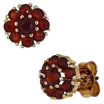 Grenats boucles d'oreilles 375 or or jaune 18 grenade rouge Boucles d'oreilles or grenat bijoux