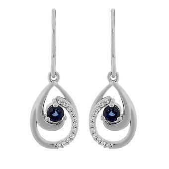 Orphelia Silver 925 Drop Earring met natuurlijke Sapphire en zirkonium - zo-7375