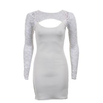 Senhoras novas corte vestido de manga longa na frente do laço frontal Bodycon costas feminino
