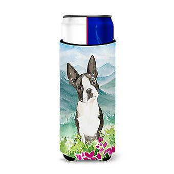 Mountain blomster Boston Terrier Michelob Ultra Hugger for slim dåser