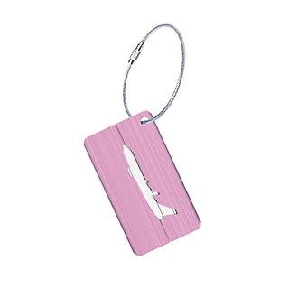 Aluminium luggage tag with airplane motif-pink