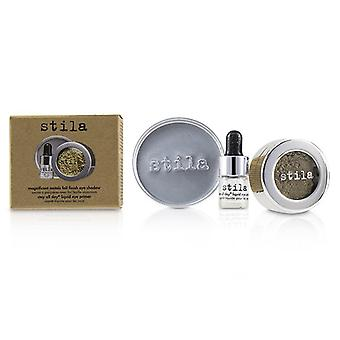 Stila Magnificent Metals Foil Finish Eye Shadow With Mini Stay All Day Liquid Eye Primer - Vintage Black Gold - 2pcs