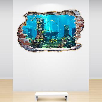 اللون كامل الحوض حطموا الجدار 3D تأثير الجدار ملصقا