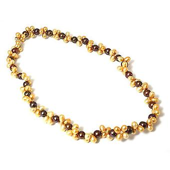 Toc Byzantium & Orange Peel Dyed Baroque & Semi Baroque Freshwater Cultured Pearl 18 Inch