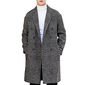 Cloudstyle Herren Mantel Zweireiher Houndstooth Outwear