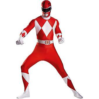 Vuxen röd Power Ranger kostym