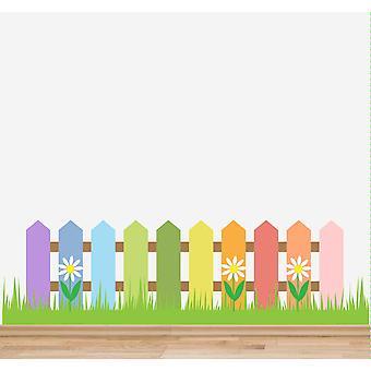 Full Colour Nursery Fence Grass Flowers Wall Sticker
