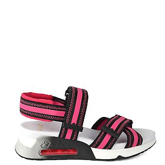 Ash Footwear Lewis Black Leather & Pink Trainer Sandal
