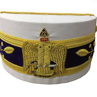 33rd Degree Scottish Rite Wings DOWN White Cap Bullion Hand Embroidery
