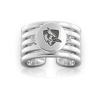 Johns Hopkins University Engraved Sterling Silver Diamond Multiband Cuff Ring