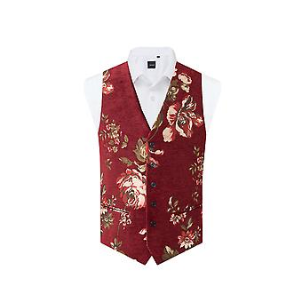 Dobell Red Floral Brocade Waistcoat Regular Fit 5 Button