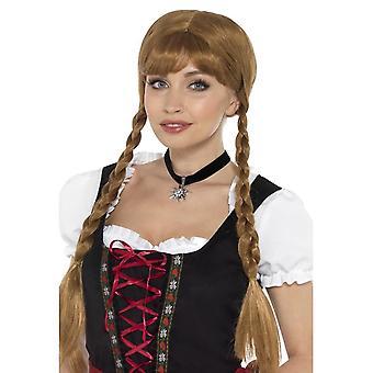 Bavarian Fr�ulein Choker Black with Edelweiss Flower,Oktoberfest Fancy Dress