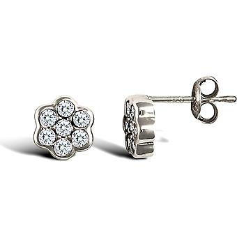 Jewelco London Ladies 9ct White Gold White Round Brilliant Cubic Zirconia 7 Stone Cluster Stud Earrings