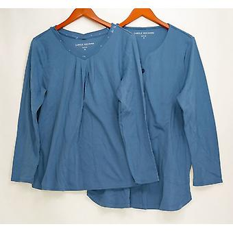 Carole Hochman Women's Sleepshirt Interlock Jacket & Top Blue A310271
