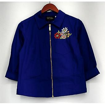 Bob Mackie Basic Jacket 3/4 Sleeve Pocket Full of Flowers Blue A265365