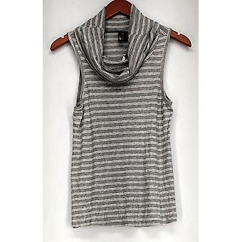 Ultra Flirt Top Stripe Print Sleeveless Cowl Neck Gray/White Womens