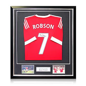 Bryan Robson Signed 2015-16 Manchester United Home Shirt In Deluxe Black Frame