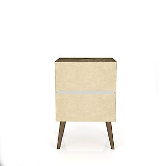 Manhattan comfort  liberty mid century - modern nightstand 1.0 with 1 cubby space and 1 drawer in rustic brown and white