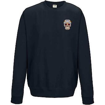 Día de Muertos Sugar skull-Day of the Dead broderade logo-Sweatshirt