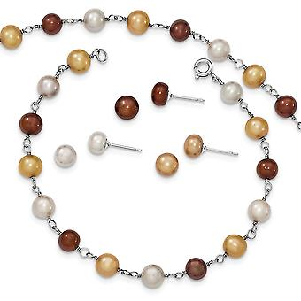 925 Sterling Silver Spring Ring Post Boucles d'oreilles Freshwater Cultured Pearl 18 In Neck. 7.25 En bracelet et 3 Pièces Ea