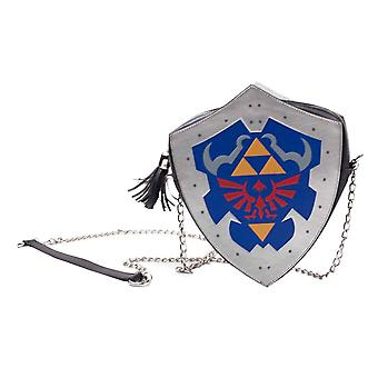Zelda Shoulder Bag Hyrule Crest Shield Shaped Logo new Official Nintendo Grey