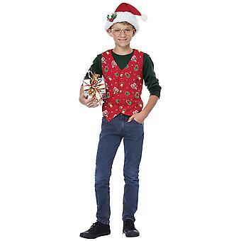 Holiday Red Vest Hat Clip Christmas Santa Festival Dress Up Girls Boys Costume