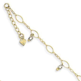 14K Two Tone Polished Adjustable Spring Ring Gold Mirror Beaded Anklet 9 Inch Jewelry Gifts for Women