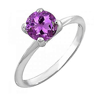 Dazzlingrock Collection 14K 5 MM Round Cut Amethyst Ladies Solitaire Bridal Engagement Ring, White Gold