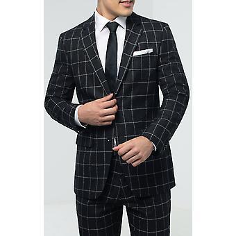 Dobell Mens Black/White Check Suit Jacket Regular Fit