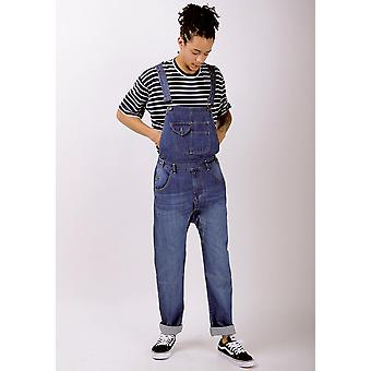 Danny mens relaxed fit organic denim dungarees light wash