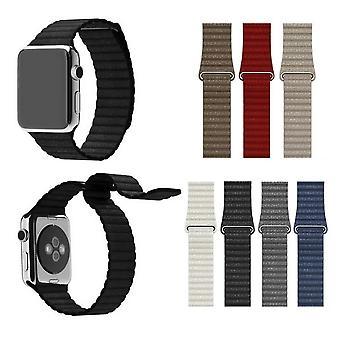 Para apple watch 42/44mm loop ímã bloqueio fivela de couro pulseira de couro